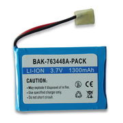 Lithium-ion Rechargeable Battery with 3.7V Voltage and 1,300mAh Capacity