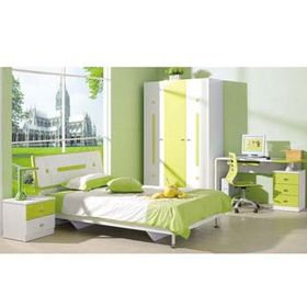 Wooden Children's Bedroom Furniture with Bed, Desk, Bedside Cabinet and 3 Doors Wardrobes