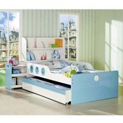Lovely Children Bedroom Furnitures, Includes Bed with Drawer Cabinets and Bookcase