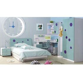 Bedroom Furniture with Baby Blue, Includes Bed, Desk, Bedside Cabinet and Storage Wardrobe