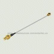 RF Extension Cable with SMB(M Contact) S/T Bulkhead Jack to IPEX for 1.13mm Coaxial Cable Assembly from EnterTec Technology Inc.