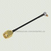 Custom RF Coaxial Connector and LMR-100A Cable Assembly with SMA(M) S/T Plug to MC CARD(M) R/A Plug from EnterTec Technology Inc.