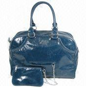 Crinkle and Patent Synthetic Leather Handbag from China (mainland)