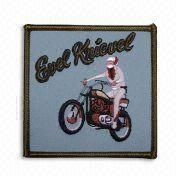 China Embroidered Patches with Heat Cut Boarder and Twill Background