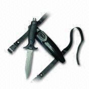 Cuchillo agudo del buceo con escafandra de la extremidad del acero inoxidable con el martillo en el top de la manija