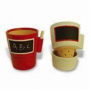 Ceramic Flower Pots with Blackboard, Can Leave Message to Others with Chock