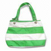 China Canvas Handbag with Colorful Strip Design, Measuring 38.5 x 11 x 28cm