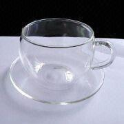 Crystal-clear Glass Cup and Saucer from China (mainland)