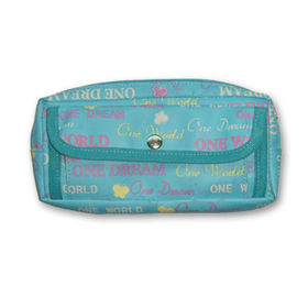 PVC  Pencil Case with Front Pocket and Mesh Pocket on Back from Fuzhou Oceanal Star Bags Co. Ltd