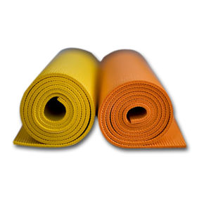 PVC Yoga Mat in Orange and Yellow Colors, Customized Logo Printing is Welcomed