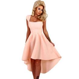 China Pink Stripe Dip Hem Midi Swing Dress