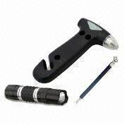 Hong Kong SAR Car Automotive Emergency Kit with Flashlight, Exited Hammer, and Tire Pressure Gauge
