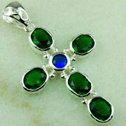 Wholesale green quartz blue topaz cross 925 silver gemstone new pendant jewelry Promotions fast shipping, green quartz blue topaz cross 925 silver gemstone new pendant jewelry Promotions fast shipping Wholesalers