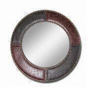 China Leather Framed Mirror With Nail Available In Various Sizes Customized Colors Are Welcome