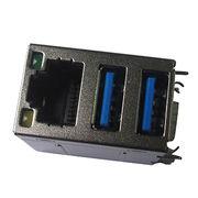 Dual Port USB3.0 Plug to RJ45 Modular Jack connect from China (mainland)