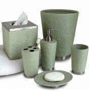 Metal Bath Accessories/Set with Ceramic Green Leaves Pattern ...