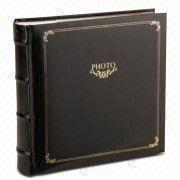 Photo Album with Gold Stamping, Paper Interleaves and Book Bound, Cover made of PU