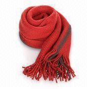 Hong Kong SAR Knitted Scarf, Made of Acrylic, OEM Orders are Welcome, Customized Materials and Colors are Accepted