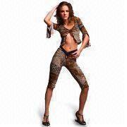 Los trajes con la impresión del leopardo, pedidos de la lencería sexy del OEM son agradables