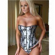 Hong Kong SAR Satin Corset with Lace Decoration, OEM Orders Accepted