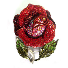 China Nickel-free Large Brooch, Made of Alloy and Chinese Rhinestones
