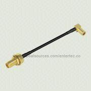 RF Coaxial Cable Screw-On with SMA S/T Bulkhead Jack to Female SSMB Contact R/A Jack for RG-174