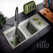 China Granite Quartz Double Bowl Kitchen Sink
