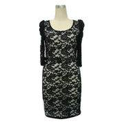 Fashion lace OEM Ladies dress 2012,half puff sleeves and big O-neck,Lining fabric from China (mainland)