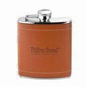 Hip Flask, Made of Stainless Steel and Leather, Non-lead Welding