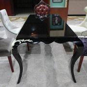 Gloss Silver Foil Solid Wood Dining Table, Suitable for Hotel Furniture/Villa Dining Room Sets