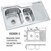 Double Bowl Stainless steel kitchen sink with drainboard ...