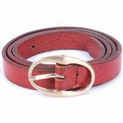Red leather belt with chic metal buckle
