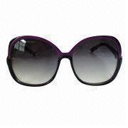 China Las gafas de sol de las mujeres con el marco y la pendiente púrpuras cristalinos fuman la lente