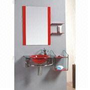 China Bathroom cabinet with glass, 11mm basin, 15mm countertop, measures 90x53cm