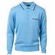 Men's polo neck/3-piece button fine gauge knitted sweater from China (mainland)