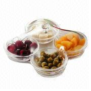 Taiwan Dessert Serving Tray with Four Durable Bowls and Matching Tray