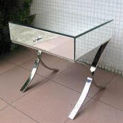 Bedside Mirrored Table with Steel Stand, 1 Drawer Cabinet, Venetian Furniture