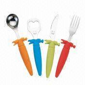 China 4-piece Children's Flatware with PP Handle, Made of Stainless Steel
