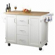 White Kitchen Trolley white kitchen trolley with towel hangers, cabinets and drawers