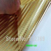 Wholesale wholesale 1.52 x 30m golden chrome 3d carbon fiber vinyl car wrap film practicable car stickers, wholesale 1.52 x 30m golden chrome 3d carbon fiber vinyl car wrap film practicable car stickers Wholesalers