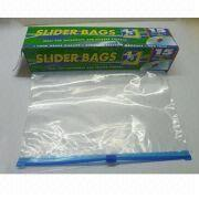 Slide Zipper Pouch/Bag, Made of Laminated Material or Single Layer of PE, PVC Bag
