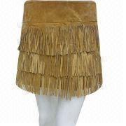 Ladies' Tassel Attractive Leather Skirt