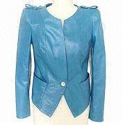 Ladies' round neck leather jacket, 100% polyester lining