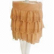 China Layered pigskin mini-skirt, customized sizes and colors are accepted