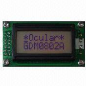 Dot-matrix LCD Modules, 8-character x 2-line Display, STN, Gray
