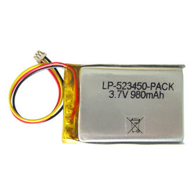 China LP-523450 Pack, Lithium Polymer Batteries