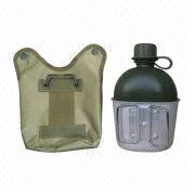 1,000mL Canteen with Aluminum Cup and Nylon Pouch, Ideal as Camping or Military Accessories