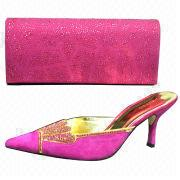 China High-heeled crystal shoes with matching crystal evening bag