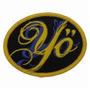 China Embroidered Patch with Heat Cut Boarder and Glitters, Comes in Various Colors