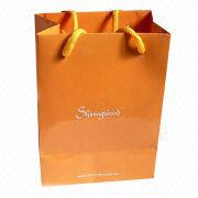 Paper Bag with Yellow Poly Cotton, Made of 170g Artpaper